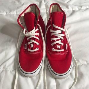Like new red vans high top classics women's 6